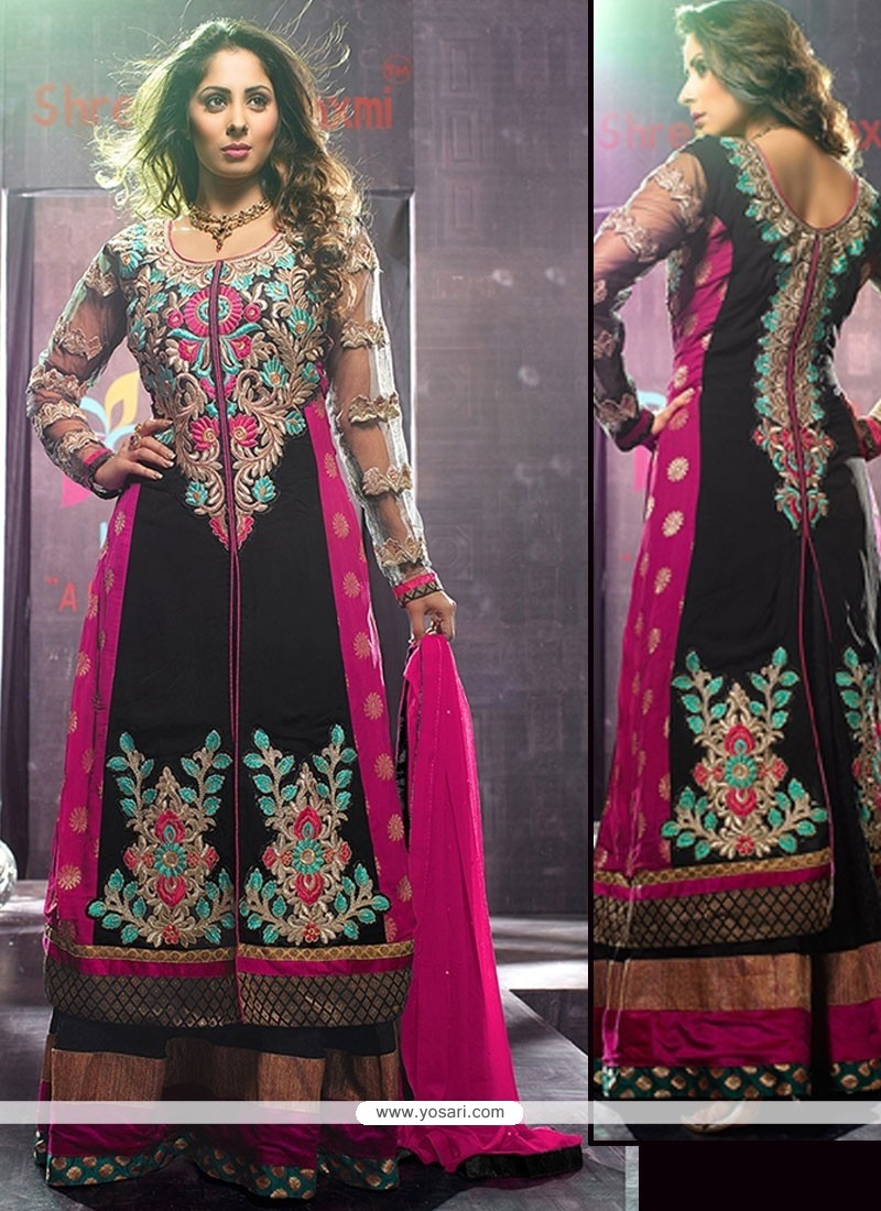 Natural Black Faux Georgette Floor Length Anarkali Suits