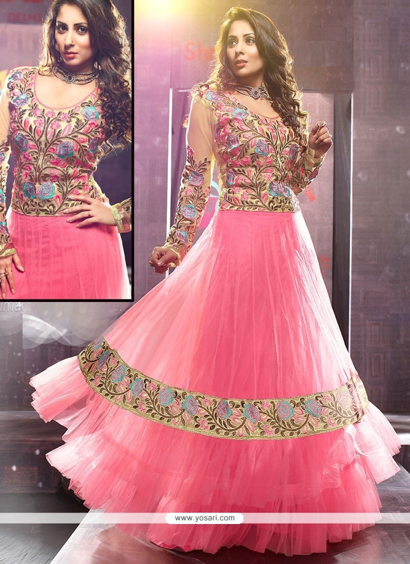 Flawless Pink Net Floor Length Anarkali Suits