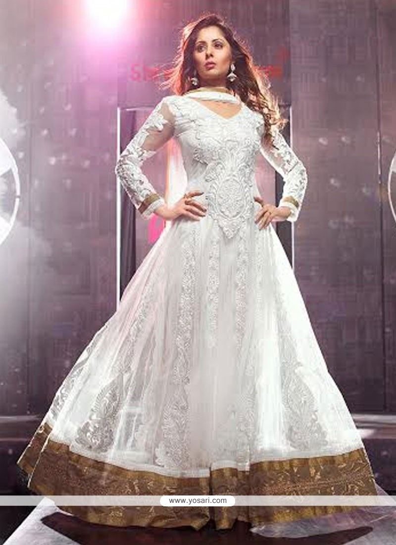 Amazing White Net Floor Length Anarkali Suits