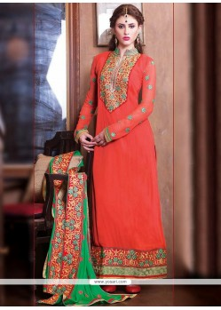 Dazzling Orange Georgette Churidar Salwar Suit