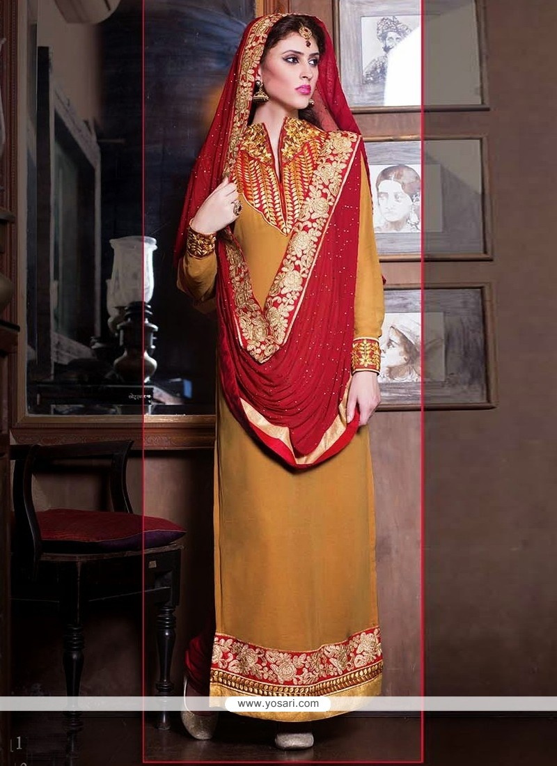 Mustard Georgette Lace Churidar Salwar Suit