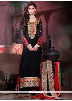 Opulent Black Georgette Churidar Suit