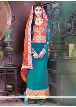 Aqua Blue Georgette Churidar Salwar Suit