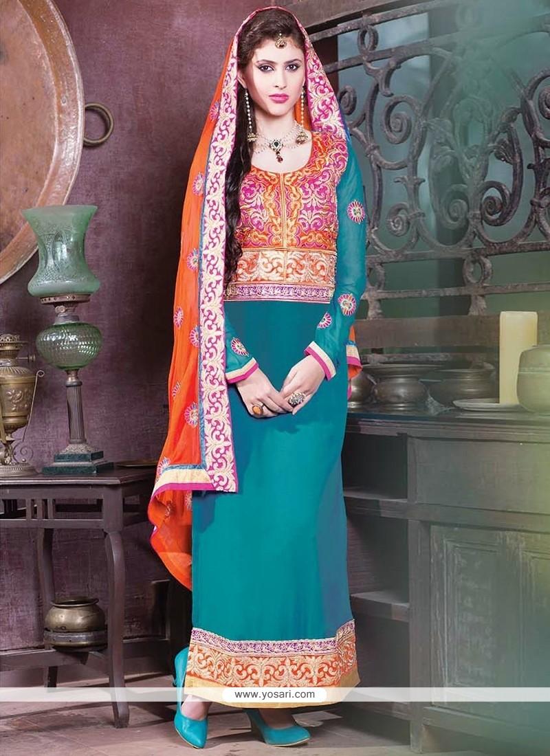 Aqua Blue Georgette Churidar Salwar Suit