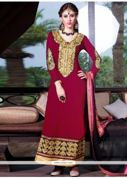Magenta Zari Work Churidar Salwar Suit