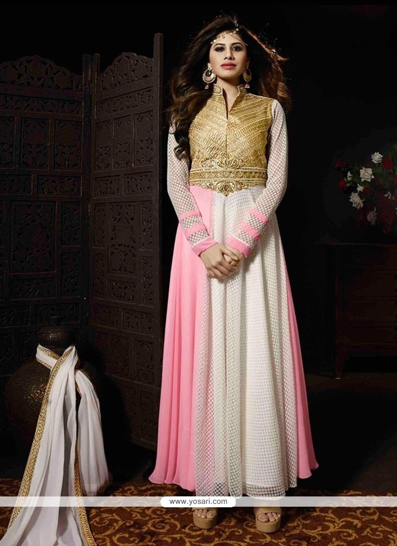 95092adbc6 Shop online Auspicious Georgette Pink and White Zari Work Anarkali ...