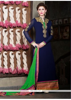 Pristine Blue Georgette Churidar Salwar Suit