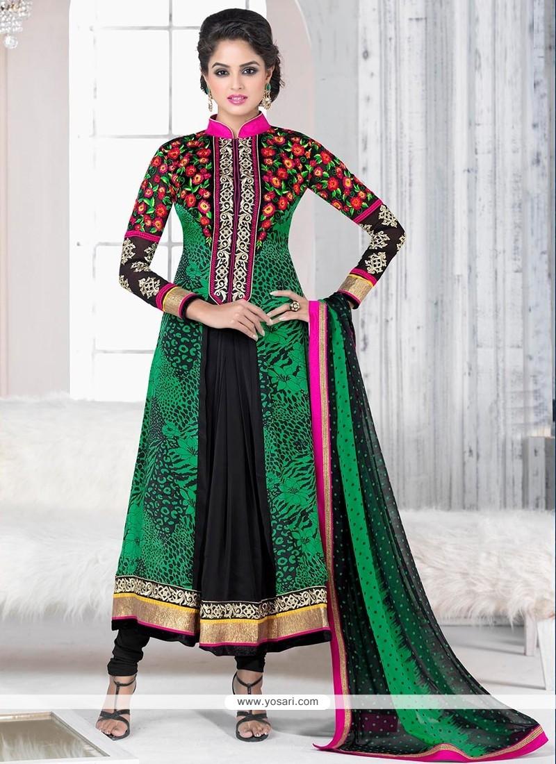 Green And Black Printed Churidar Salwar Kameez