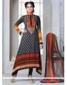 Black And Orange Shaded Printed Churidar Suit