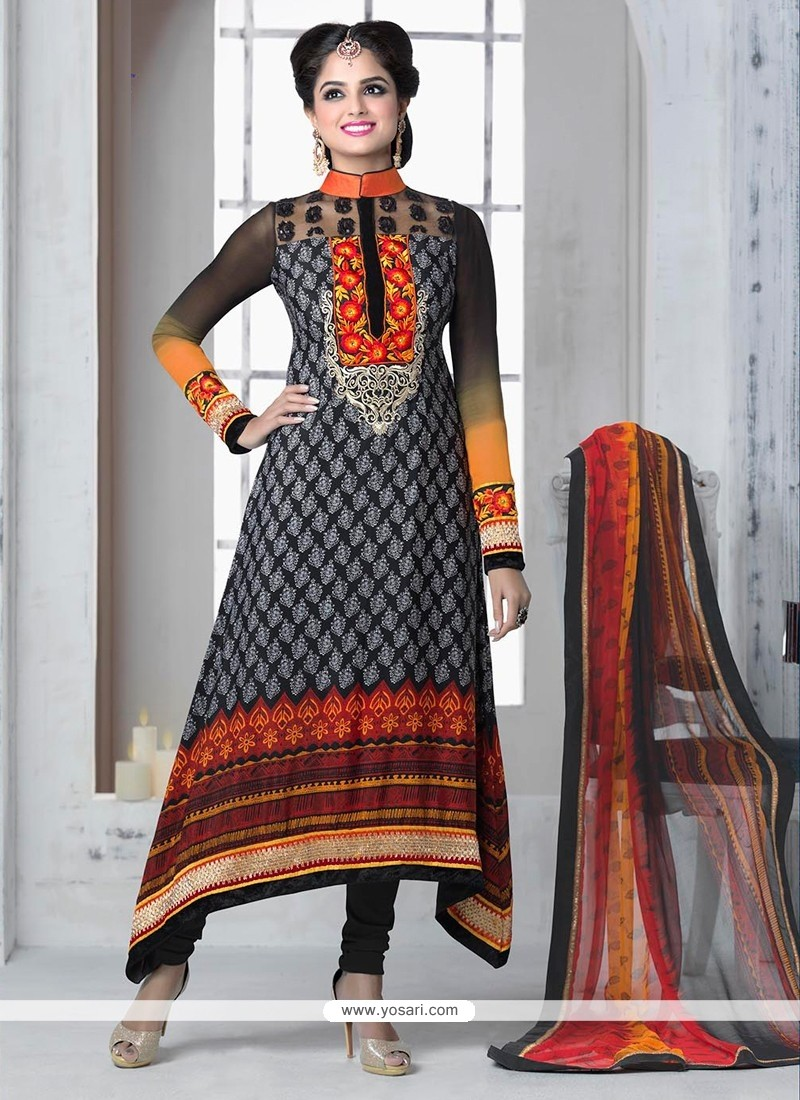 Black And Orange Shaded Printed Churidar Suit