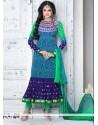 Blue And Green Shaded Crepe Churidar Salwar Kameez
