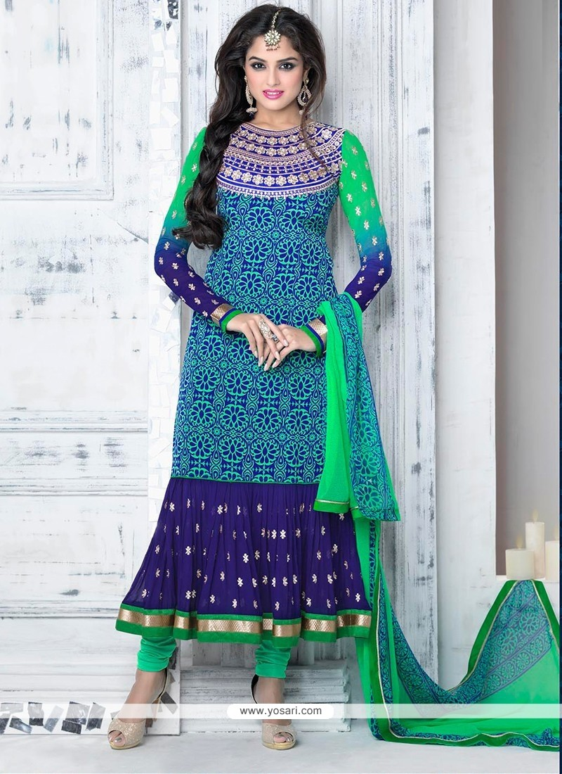 Blue And Green Shaded Crepe Churidar Salwar Kameez