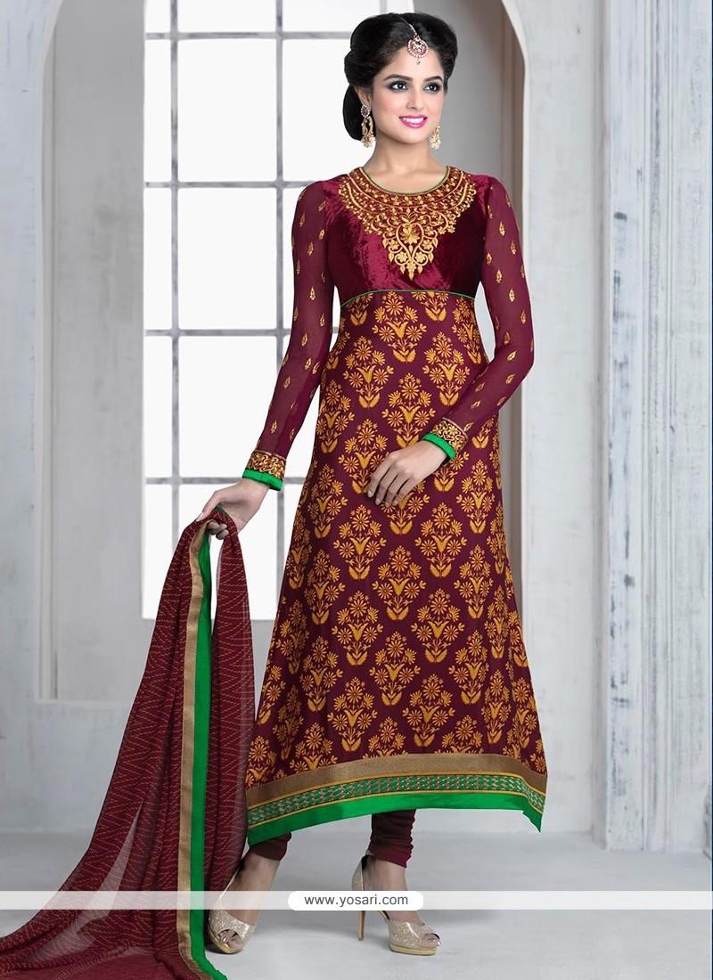 Eyeful Wine Zari Crepe Churidar Suit
