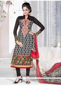Excellent Black Printed Churidar Salwar Suit