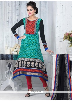 Turquoise Embroidery Work Churidar Suit