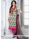 Cream Printed Crepe Churidar Salwar Suit