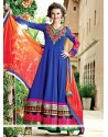Amazing Blue Georgette Resham Anarkali Suits