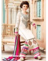 Off White Georgette Zari Salwar Suit