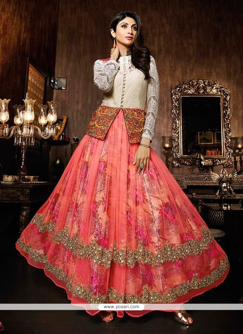 Shop online Shilpa Shetty Net Embroidered Work Anarkali Salwar Suit