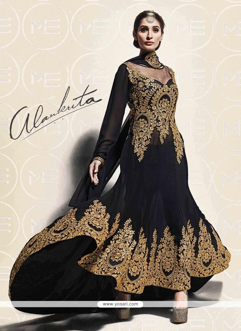 Shop Online Groovy Resham Work Black Georgette Designer Salwar Suit