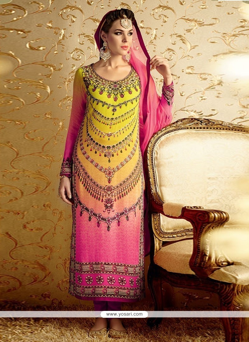 4e09b74c2e Shop online Sensible Embroidered Work Hot Pink and Yellow Designer Suit