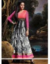 Off White And Black Printed Anarkali Suits