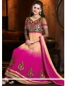 Magenta And Cream Shaded Georgette Anarkali Suits