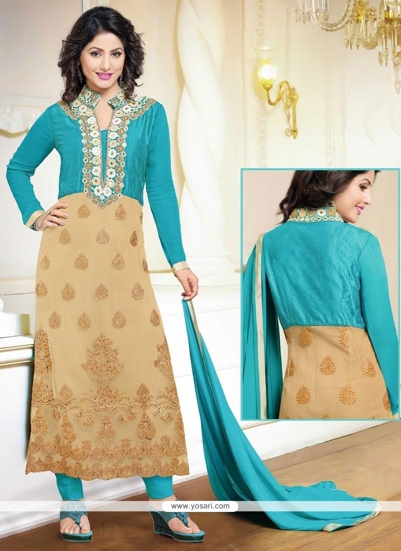 Shop Online Hina Khan Beige And Turquoise Designer Suit