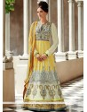 Grey And Yellow Resham Work Anarkali Suits