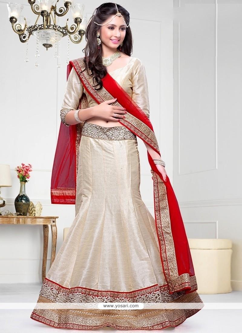 44d23207afa Shop online Tempting Art Dupion Silk Aari Work A Line Lehenga Choli